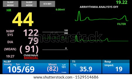 Patient with low pulse, medical vital signs monitor, cardio sensor diagnostic, 3d rendering
