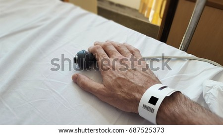 Patients hand on nurse call button in a hospital bed, Blurred foreground