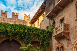 Patio and balcony of Romeo and Juliet house at golden sunset, Verona, Italy