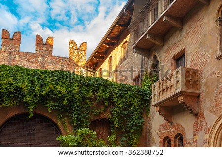 Photo of  Patio and balcony of Romeo and Juliet house at golden sunset, Verona, Italy