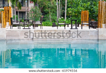patio by the swimming poolside