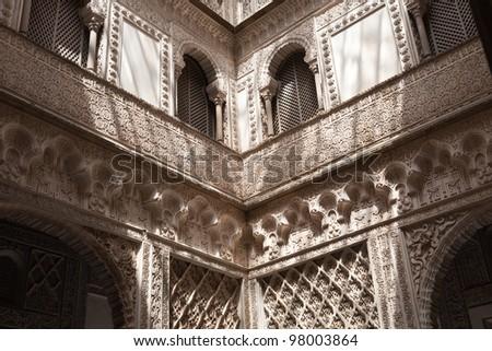 Patio de las Munecas en el Real Alcazar de Sevilla. Courtyard of the dolls in the Royal Alcazar of Seville, Spain. UNESCO World Heritage Site Foto stock ©