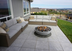 Patio fireplace with seating area