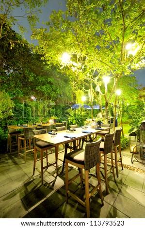 patio romantic in the evening