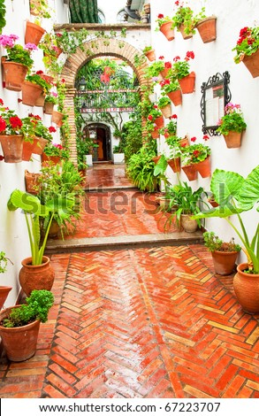 Patio with flowers in Cordoba, Spain