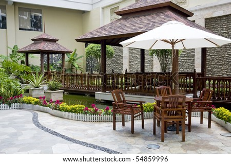 patio with table and chairs