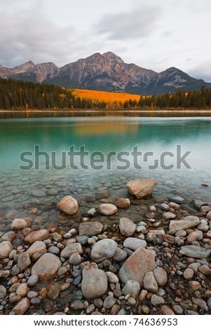 Patricia Lake and Pyramid Mountain, Jasper National Park, Alberta, Canada - stock photo