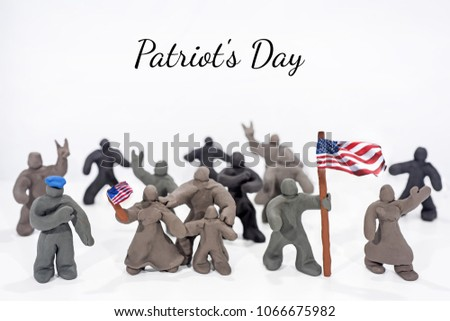 Patriot's Day celebration. Abstract photo. Figures made from Play Clay. Isolated on white background. Demonstration with flags and patriotic symbols. #1066675982