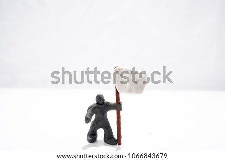 Patriot's Day celebration. Abstract photo. Figures made from Play Clay. Isolated on white background. Demonstration with flags and patriotic symbols. #1066843679