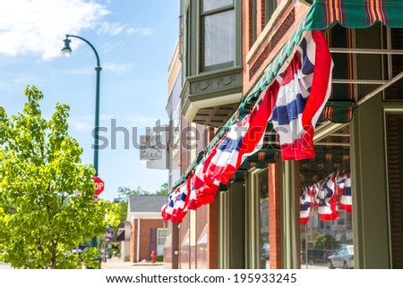 patriotic  bunting on a...