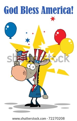 Patriotic Donkey Waving An American Flag On Independence Day