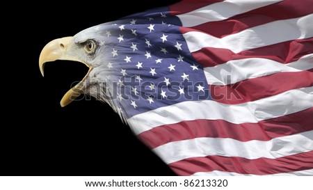 patriotic eagle blended with US flag