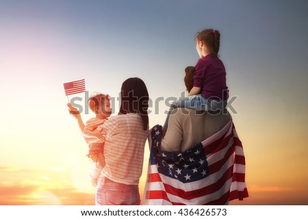 patriotic holiday. happy family ...