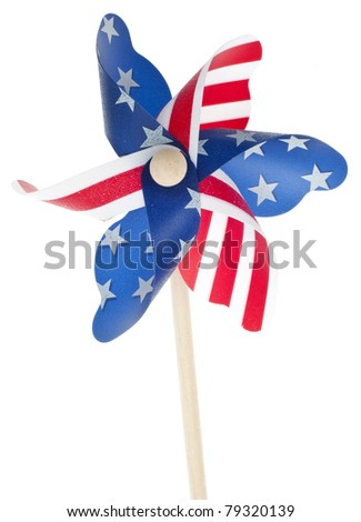 Patriotic Red White and Blie Pinwheel with Stars and Stripes of USA Isolated on White.
