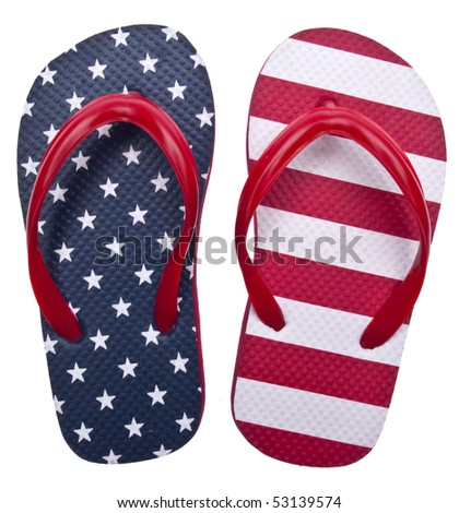 Patriotic Red White and Blue Flip Flop Sandals Ready for the 4th of July!  Isolated on White with a Clipping Path.