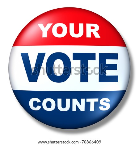 patriotic vote button badge election politics symbol - stock photo