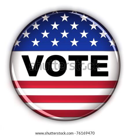 Patriotic vote button over white background