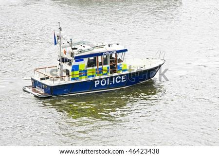 Patrol boat at river Thames for emergency response