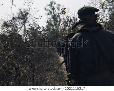 Patrol in forest on morning.