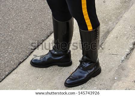 patrolman leather boots and pants