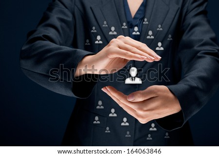Patron, customer care, care for employees, life insurance and marketing segmentation concepts. Protecting gesture of businesswoman or personnel and icons representing group of people.