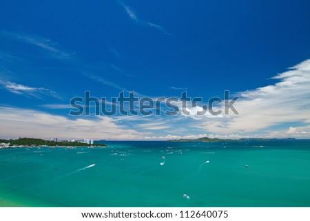 Pattaya , Balihy foreland andLan Island  bird eye view, Thailand