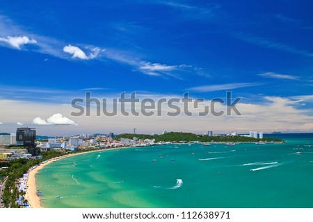 Pattaya beach and city  bird eye view, Chonburi, Thailand