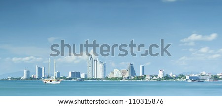 Pattaya beach with a very slow shuter speed photo by use 10 stop ND filter.
