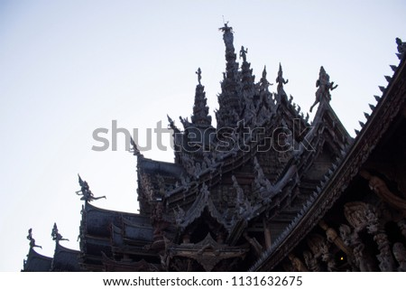 Pattaya,Chonburi Province /Thailand-January 13.2018 : Sanctuary of Truth, (Prasat Sut Ja-Tum)