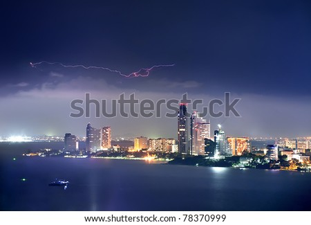 pattaya city at night - stock photo