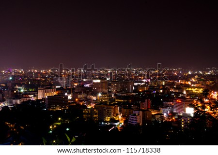 Pattaya City at night, famous tourist attraction in Thailand