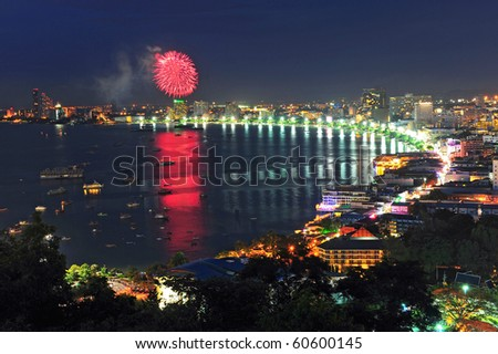 Pattaya city bird eye view nightscene and firework, Thailand