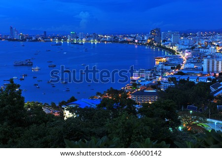 Pattaya city bird eye view nightscene ,Thailand