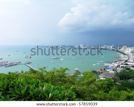 Pattaya city bird eye view, Thailand