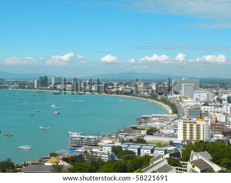 Pattaya city bird eye view, Thailand - stock photo