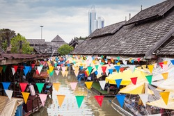Pattaya city floating open air market in the southeast asian country of Thailand.