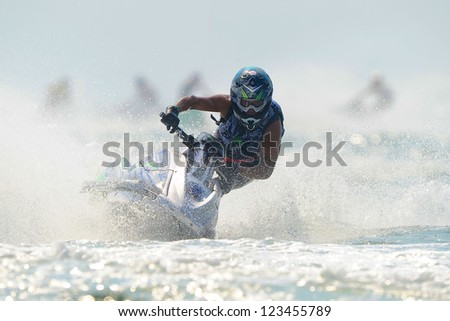 PATTAYA CITY THAILAND-DECEMBER 8:Mizuo Hidaka of Japan in action during moto2 class Pro Ski Open the Jetski  King's Cup World Cup Grand Prix at Jomtien Beach on Dec8, 2012 in,Thailand.
