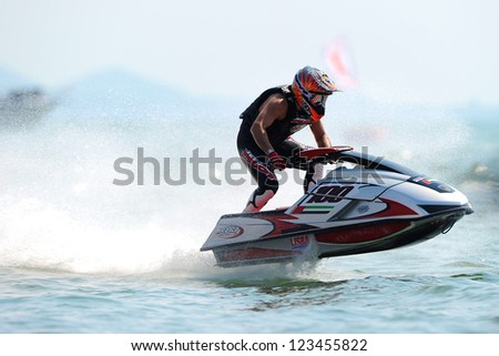 PATTAYA CITY THAILAND-DECEMBER 8:Steven Dauliacia of France in action during moto2 class Pro Ski Open the Jetski  King's Cup World Cup Grand Prix at Jomtien Beach on Dec8, 2012 in,Thailand.
