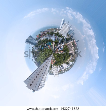 Pattaya city Thailand viewing angle 360 degree panorama of planet polar coordinate effect