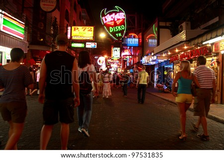 Pattaya - Feb 14: Crowd Walk Through The Walking Street To ...