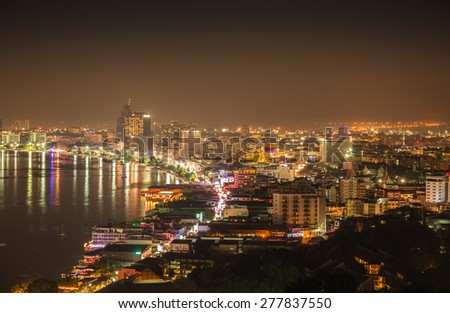 PATTAYA - MAY 10: The building and skyscrapers in night time on May 10,2015 in Pattaya,Thailand.Pattaya city is famous about sea sport and night life entertainment.