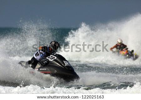 PATTAYA, THAILAND - DECEMBER 7 :  Andrey Iakovle, Russia driver from Gulfstream team in the race of Jet Ski World Cup Grandprix 2012 on December 07, 2012 in Jomthein beach Pattaya, Thailand
