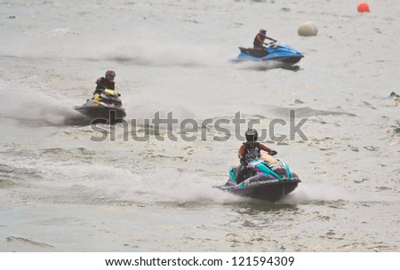 PATTAYA, THAILAND - DECEMBER 9: Competitors at Jet Ski King's Cup World Cup Grand Prix 2012 held at Jomtien Beach on December 9, 2012 in Pattaya, Thailand.