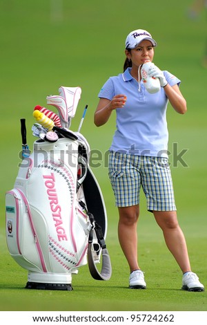 PATTAYA THAILAND-FEBRUARY 16: Ai Miyazato of Japan Drinking water before a shot duringthe the first round of Honda LPGA  2012 on February 16,2012 at Siam Country Club Old Course in Pattaya,Thailand