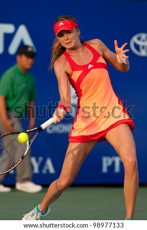 PATTAYA THAILAND - FEBRUARY 9: Daniela Hantuchova of Slovakia returns a ball during Round 2 of PTT Pattaya Open 2012 on February 9, 2012 at Dusit Thani Hotel in Pattaya, Thailand