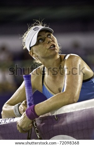 PATTAYA THAILAND - FEBRUARY 12: Russian tennis player Vera Zvonareva protests against the umpire judgment during the semi final round of 2011 PTT Pattaya Open on Feb. 12, 2011 at Dusit Thani Hotel in Pattaya, Thailand