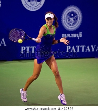 PATTAYA, THAILAND - FEBRUARY 11: Serbian tennis player Ana Ivanovic returns the ball during round 3 of PTT Pattaya Open on February 11, 2011 at Dusit Thani Hotel in Pattaya, Thailand