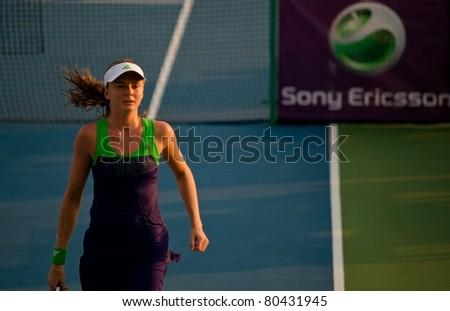 PATTAYA THAILAND - FEBRUARY 10: Slovakian tennis player Daniela Hantuchova in action during round 2 of PTT Pattaya Open on February 10 2011 at Dusit Thani Hotel in Pattaya, Thailand