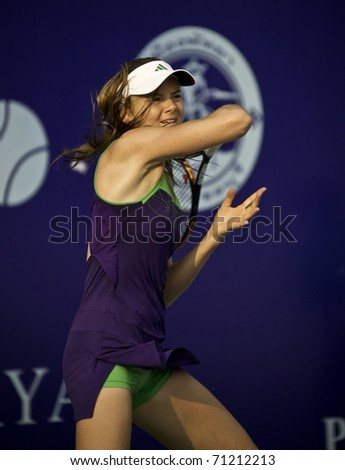 PATTAYA THAILAND - FEBRUARY 13: Slovakian tennis player Daniela Hantuchova in action during the final against Sara Errani of Italy at PTT Pattaya Open at Dusit Thani Hotel in Pattaya, Thailand