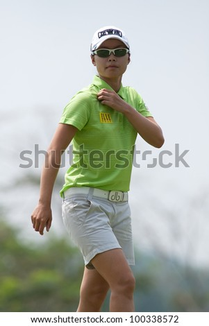 PATTAYA, THAILAND-FEBRUARY 16: Sun Young Yoo of Korea walks towards TEE 16 during Round 1 of Honda LPGA 2012 on February 16, 2012 at Siam Country Club Old Course in Pattaya, Thailand